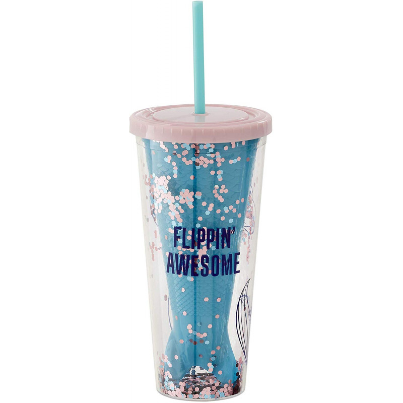 Official Disney Flippin Awesome Little Mermaid Glitter Cup With Straw from Funko