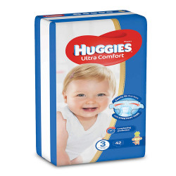 HUGGIES Ultra Comfort Diapers, Size 3, Value Pack, 4-9 kg, 42 Diapers