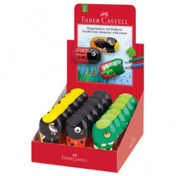 Faber-Castell Double Hole Pencil Sharpener and Eraser, (Assorted)