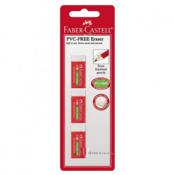 Faber-Cstell PVC Free Eraser White (3pc)