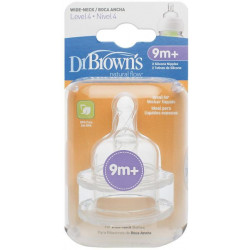 """Dr. Brown's Level 4 Y-Cut Silicone Wide-Neck """"Options"""" Nipple - 2 Pack"""
