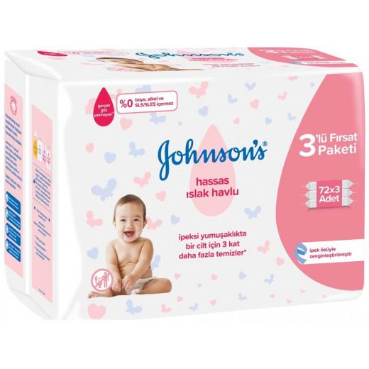 Johnson's Baby Wet Wipes Sensitive 3x72