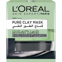 L'Oreal Paris, Pure Clay Black Mask With Charcoal, Detoxifies & Clarifies, 50 Ml