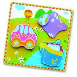 Viga Wooden Flat Puzzle - Transport
