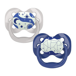 Dr. Brown's Advantage Pacifier - Stage 1, Glow in the Dark, 2-Pack, Blue