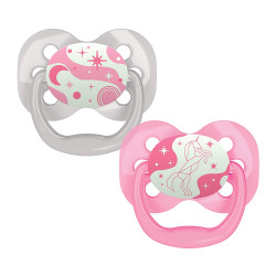 Dr. Brown's Advantage Pacifier - Stage 1, Glow in the Dark, 2-Pack, Pink