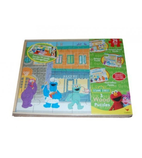 Sesame Street 3 Pack Wooden Puzzles in Wood Storage Box