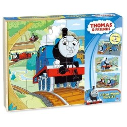 Thomas & Friends 3 Pack Wooden Puzzles in Wood Storage Box