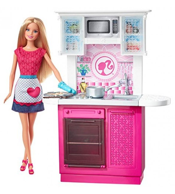 Barbie doll and kitchen furniture set for Doll kitchen set
