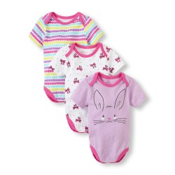 The Children's Place Bunny Bodysuit 3-Pack, 6-9 Months