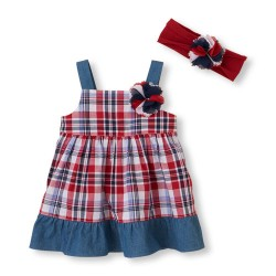 The Children's Place American Spirit Dress And Headwrap Set, 0-3 Months