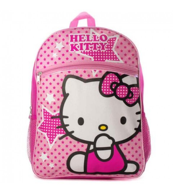 """Hello Kitty 16"""" Backpack Pink Stars"""