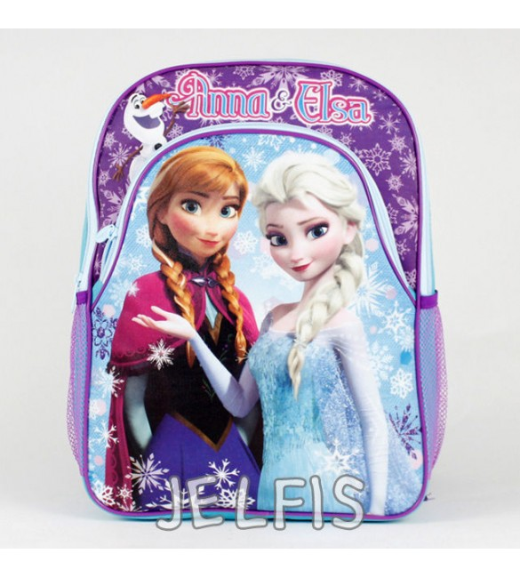 """Disney Frozen Anna and Elsa with Olaf Girls 16"""" School Backpack Bag"""