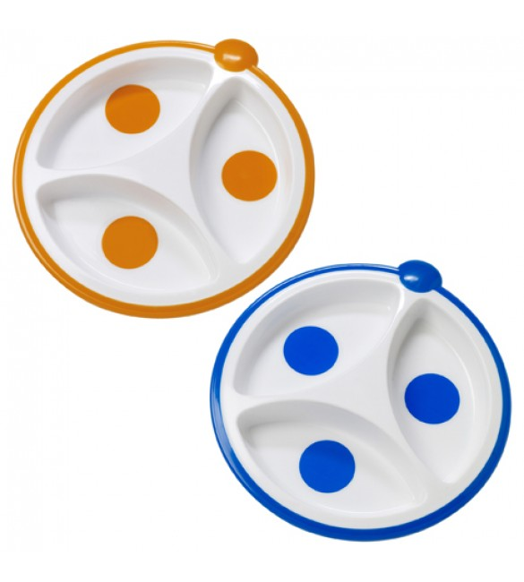 Dr. Brown Divided Plate - Dots, 2-Pack
