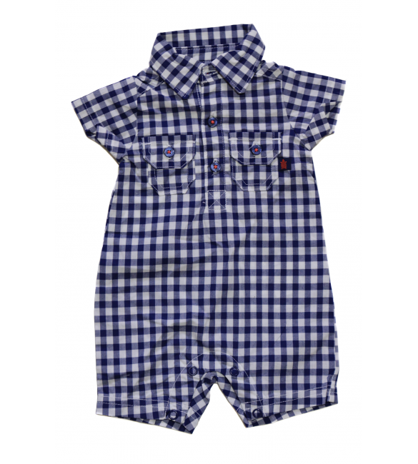 Carters Plaid Button-Front Romper,  Newborn And 3 Months