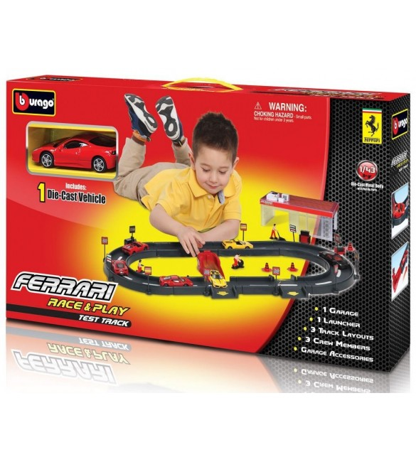 Burago Ferrari 1:43 Scale Race and Play Test Track Car