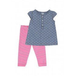 Carter's Girl's Chambray Top & Leggings, 3 Months & 6 Months