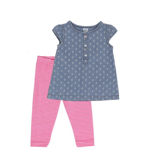 Carter's Girl's Chambray Top & Leggings, 3 Months, 6 months,18 months, 24 months