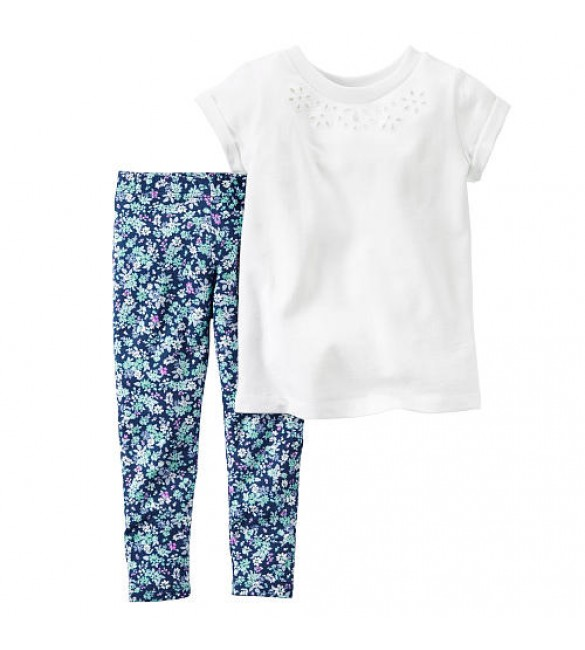 Carter's Girls 2 Piece White Short Sleeve Embroidered Tunic and Floral Pant Set, 6 Months