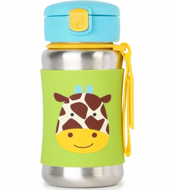Skip Hop Zoo Stainless Steel Straw Bottle - Giraffe