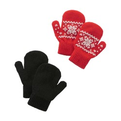 Carter's Christmas 2-Pack Mittens 2-4 Years - Red & Black