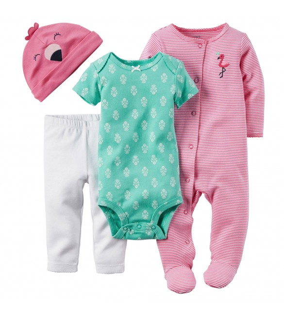 4-Piece Take-Me-Home Set 9 Months - Flamingos