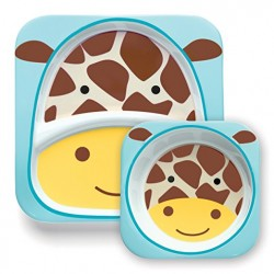 Skip Hop Zoo Melamine Plate and Bowl Set, Giraffe