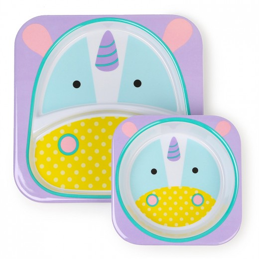 Skip Hop Zoo Melamine Plate and Bowl Set, Unicorn