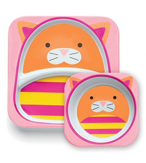 Skip Hop Zoo Melamine Plate and Bowl Set - Cat
