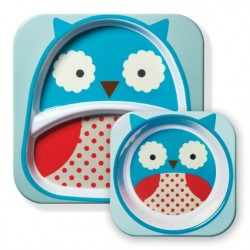 Skip Hop Zoo Melamine Plate and Bowl Set - Owl