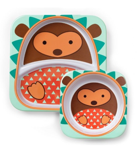 Skip Hop Zoo Melamine Plate and Bowl Set - Hedgehog