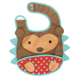 Skip Hop Zoo Tuck-Away Water-Resistant Baby Bib, Hedgehog