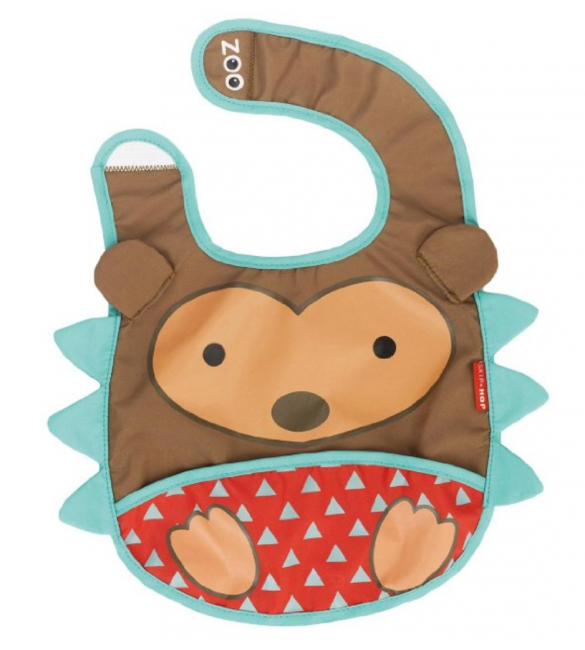 Skip Hop Zoo Tuck-Away Water-Resistant Baby Bib, Multi, Hudson Hedgehog
