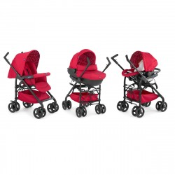 Trio Sprint Stroller + Baby Pram + Car Seat + Kit Car Red