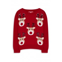 Primark Younger Girl Red Christmas Jumper 6-7 years