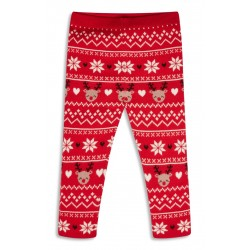 Primark Red Christmas Knitted Reindeer Leggings 9-12 Months, 12-18 Months