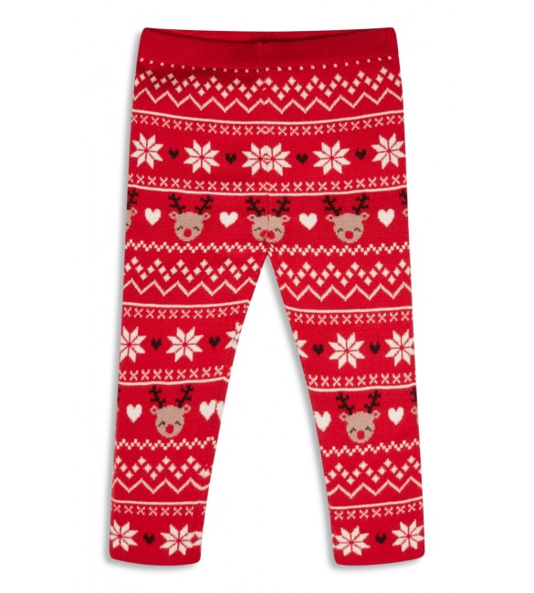 Red Christmas Knitted Reindeer Leggings 9-12months/12-18months