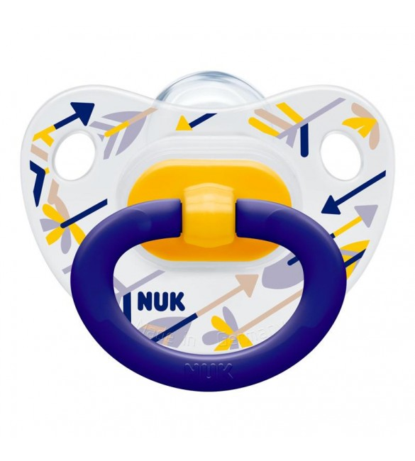 Nuk Silicon Soother Happy days Stage 2 (Blue & Yellow)