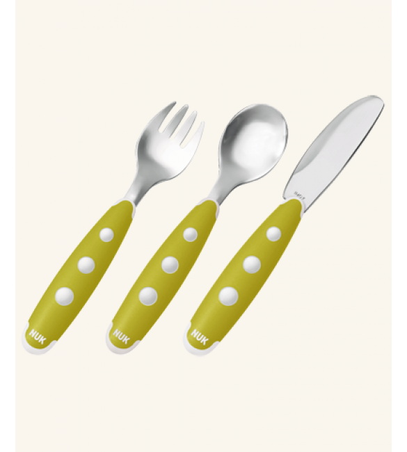 NUK Easy Learning maxi 3-piece cutlery set - green
