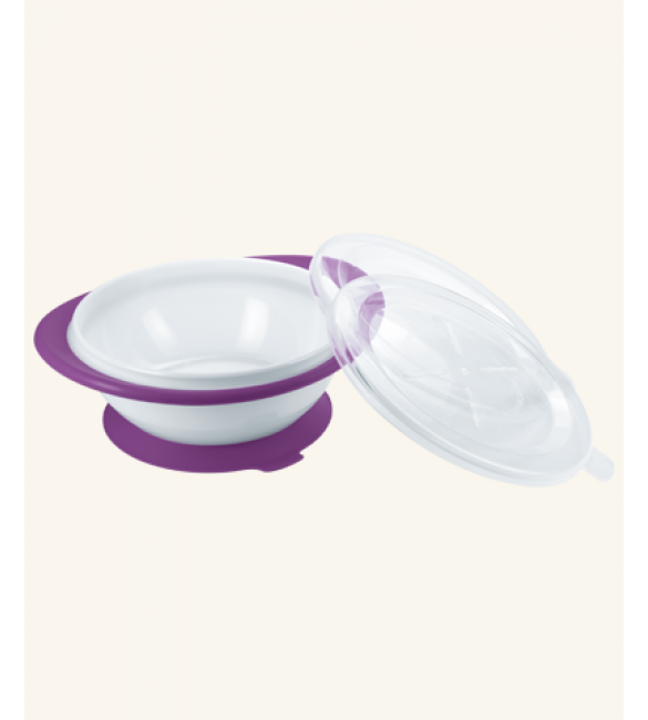 NUK Easy Learning Feeding Bowl with two lids - Purple