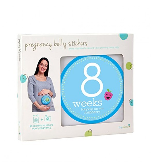 Tiny Ideas Pregnancy Maternity Photo Baby Belly 16 Stickers 8 Weeks to Birth