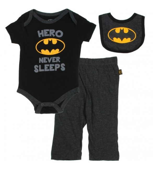 Batman Hero Never Sleeps 3 Piece Set-3-6 months /6-9 months