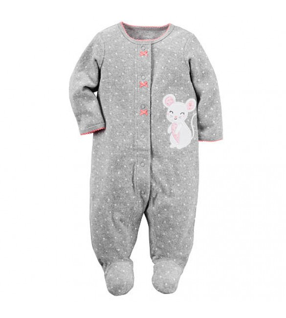 Carter's Girls Grey Polka Dot Mouse Applique French Terry Footie