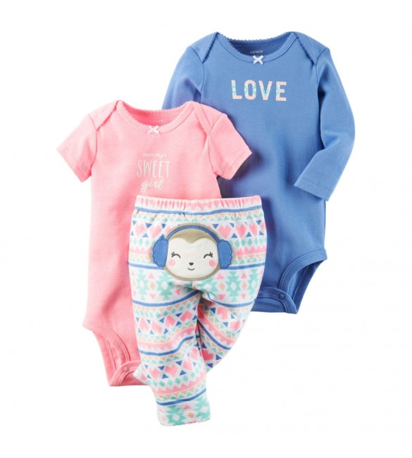 Carter's Baby 3 Pc Set- 3 Months & 24 Months (Blue Monkey)