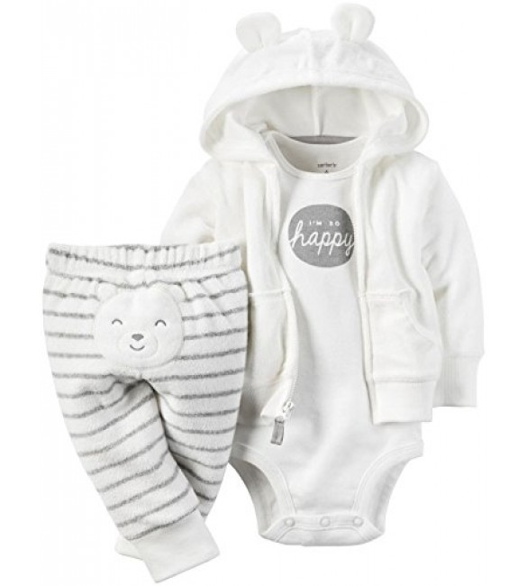 Carter's baby clothing 3 Pcs 6 Months & 9 Months (White)