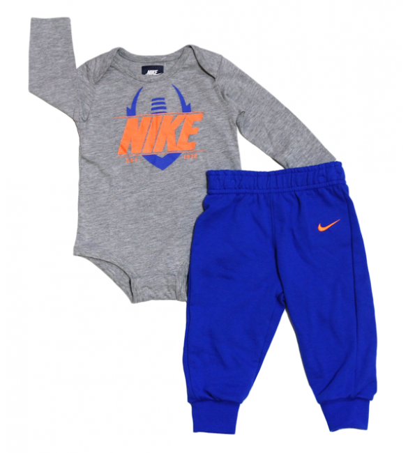 Nike 2 piece set-gray/blue 9-12 months
