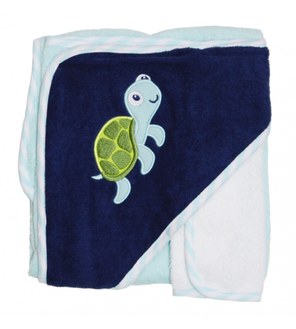 Hooded towel and washcloth (turtle)