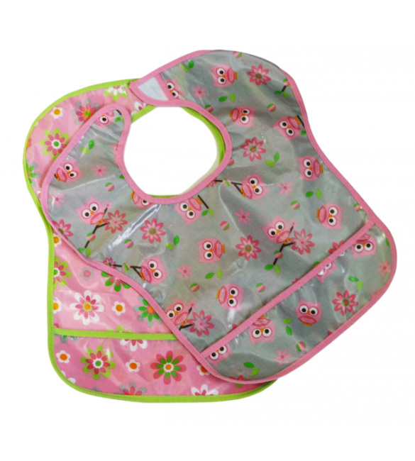 3 Easy Clean Bibs (Pink flowers)