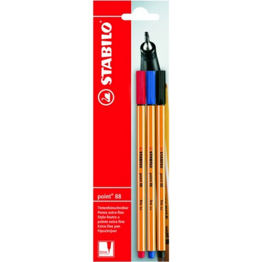 Stabilo Point 88 Blister Pens - Pack of 3