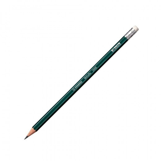 Stabilo Othello Pencil 2B with Rubber Green with Stripes-12 Pencils